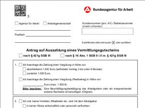 Muster eines Antrag auf Auszahlung des AVGS