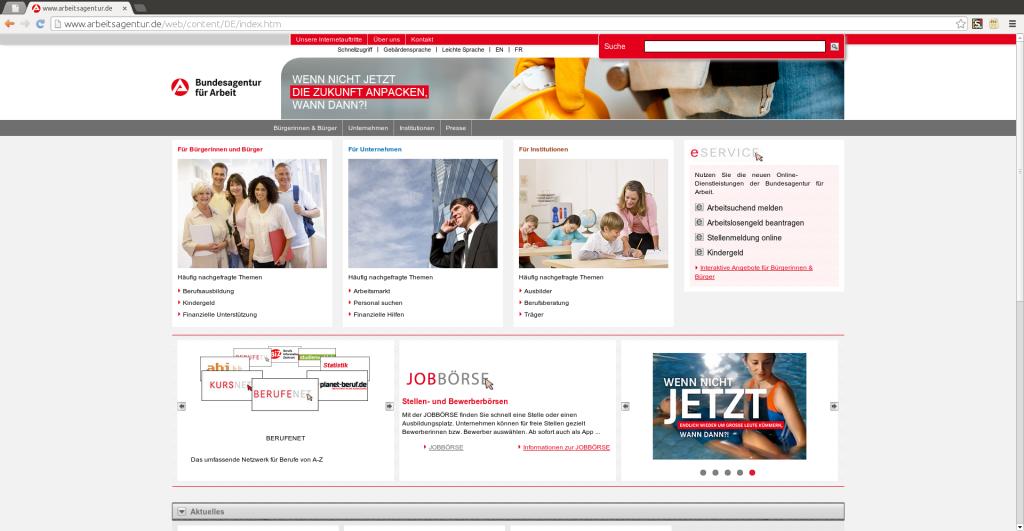 Website Bundesagentur für Arbeit